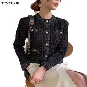 Court Cardigan Veste Femmes O col lâche manteau pull épais Casual Femmes Mode Perle Bouton Twist tricot Femme