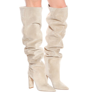 2020 Fashion Women Faux Suede Over The Knee High Slouchy Boots Pointy Toe Chunky Heel Slouch Long Boots Ladies Winter Heeled Shoes