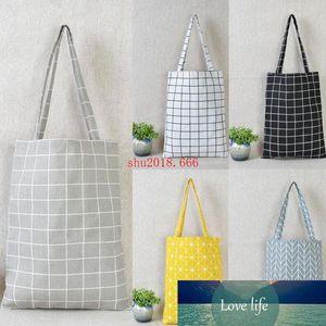 100pcs Fashion Women Cotton Linen Eco Reusable Tote Handbag Fashion Plaid Shoulder Bag Sundries Stroage Pouch