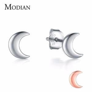 Modian New 2020 Solid 925 Sterling Silver Rose Gold Color Moon Stud Earrings For Women Trendy Small Exquisite Jewelry Bijoux