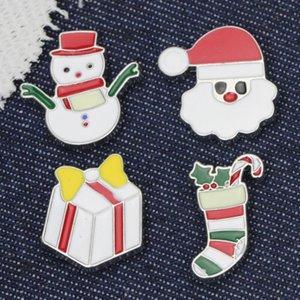 Dibujos animados Navidad Broche Lindo Santa Claus Muñeco de nieve Bell Elk Árbol de Navidad Broche Pin Precioso Navidad Insignia Insignia Decoración DHE3140