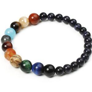 Eight Planets Bead Bracelet Men Natural Stone Universe Yoga Solar Chakra Bracelet for Women Men Jewelry Gifts Drop Shipping