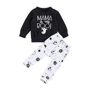 0-24M Newborn Baby Boy Clothes Set Autumn Black Ghost Letter Top Hoodies Pants Outfits Clothing 2PCs