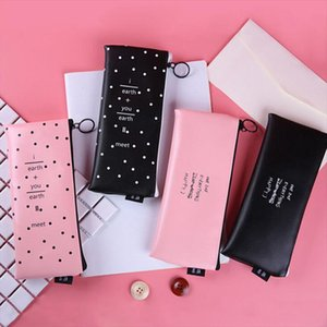 Creative Simple Letter Wave Fashion Women Cosmetic Bag Waterproof Stationery Organizer Bag Small Makeup Bag For Women