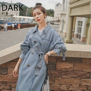 [DARK] Denim Trench Coat Women's Mid-length 2020 Autumn Korean Loose Retro British Style Short Over-the-knee Coat
