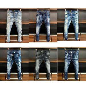 Yüksek Kaliteli Tasarımcı Erkek Denim Jeans pantolon sıska İnce kırılmış İtalya tarzı Moda Erkekler Delik Biker Motosiklet Rock Revival D2 Jean yırtık