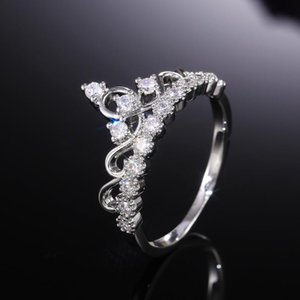 USTAR Princess Crown Rings for women cubic zirconia micro pave setting engagement wedding rings female Anel accessories