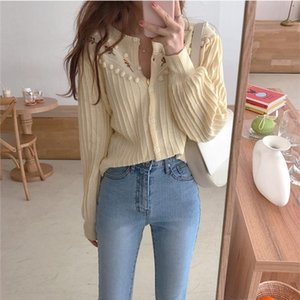 Stylish Sweet Warm Autumn Elegant Embroidery Floral Milky white Retro Soft High Street Knitted Cardigans Sweater Drop Shipping