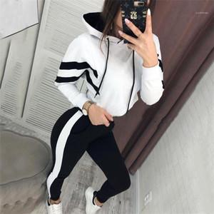 Спортивная одежда Мода Пары одежды двойной цвет Щитовых женщины Дизайнерской 2pcs костюм Экипаж шея пуловер женщины Hoodie