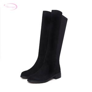 Chainingyee svago nabuk pelle naturale punta rotonda stivali alti al ginocchio cerniera elastico stivali da equitazione neri centrali delle donne del tallone