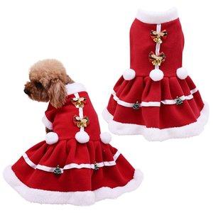 Cane di natale Ragazze Costume cucciolo caldo pile Gonna Abbigliamento autunno inverno vestiti caldi Pet Dog gonna rossa del vestito operato