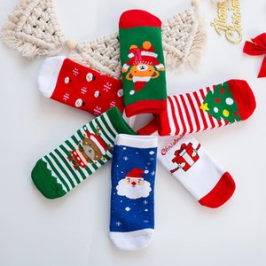 1-10T Cotton Cute Christmas Design Baby Boys Girl Socks Slip-resistant Cartoon Children's Socks 6pcs  Set Chaussette Haute Fille
