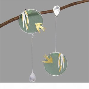 INATURE 925 Sterling Silver Aventurine Flying Swallow Drop Earrings For Women Fashion Animal Jewelry Gift CX200624