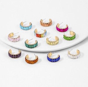 Rainbow Rhinestone Hoop Earrings for Women Girls Colorful Crystal Huggie Earrings Fashion Jewelry Dazzling Circle Earrings 12 colors Epacket