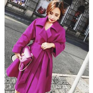 Europäische modische Oberbekleidung 2020 neue A-line Art-Winter Wolle Frauen Mantel mit Gürtel Warm Wolljacke der Frauen Cashmere Coats