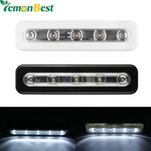 Cgjxs Lemonbest Mini 5 LED Night Light Closet lampe murale sans lumière batterie Éclairage pour les moins Armoires de cuisine
