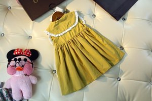 2020 summer dress baby girl clothes Yellow cotton lapels dress children clothing casual fashion dresses kids clothes girls BD-2