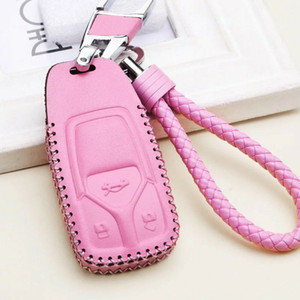 Pink 3 BTN Leather Bag Cover Key Fob Case Shell Chain For AUDI A4 Q5 Q7 TT TTS