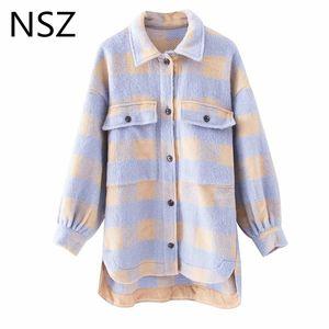 NSZ donne plaid giacca di tweed di lana cappotto reticolo giacche di tartan caldo misto lana di grandi dimensioni controllati outwear streetwear