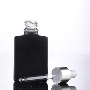 Fast Shipping 30ml Glass Dropper Bottles Black E Liquid Empty Bottle with Gold Black Silver Lids