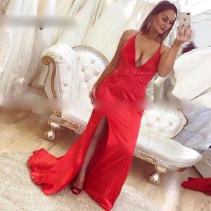 Long Prom Dress Sexy V Neck Mermaid Backless Sweep Train Satin Woman Formal Evening Gowns Side Slit vestido de fiesta