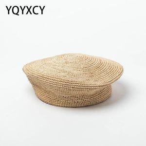 Береты Летние ручной работы вязание крючком соломенные берет женские шапки кепки дамы модные сценические шоу Бона Горрас художник плоский