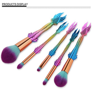 5Pcs Mermaid Makeup Brush Set Facial Blending Contour Flame Foundation Powder Brush Cosmetics Colorful Rainbow Fish Lip