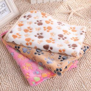1pc Puppy Cushion Soft Coral Velvet Foot Print Small Medium Dog Cat Bed Mat Pet Supplies Warm Sleeping Mattress Pet Rest blanket