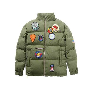 Fahison Mens Coat 20FW Men's Clothing Outwear Hooded Jacket Shark Head Embroidery Thicken Cotton Parkas Green Color Size : M-2Xl