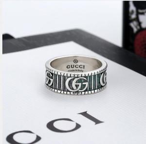 2020 New alta qualidade casais marca largura do anel de moda do vintage anel de gravura anel de presente de casamento jóias com caixa