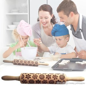 Christmas Embossing Rolling Pin Baking Cookies Noodle Biscuit Fondant Cake Dough Engraved Roller Reindeer Snowflake 8 Style choose