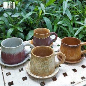 JOUDOO japanische Zen-Zeremonie Coarse Keramik Kaffeetasse Weinlese handgemachte Kaffeetrinkgefäß Tasse Milch-Tee-Schalen-Becher Trinken