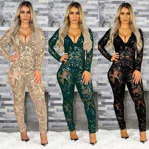 Women Designer coats Clothing Sexy Slim Bead Film Perspective Deep V Jumpsuit Nightclub Suit The Listing