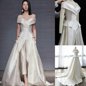 Elegant Women Jumpsuits Dresses Evening Wear With Pockets Off Shoulder Pant Suits Formal Event Gowns Custom Made Satin Prom Party Dress