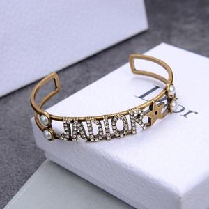 Designer jóias mulheres punhos braclets pérola estrela abertura pulseira de cobre retro moda jóias diamante bijoux punk ins venda venda