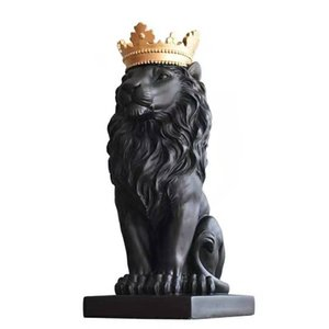 Abstract Resin Lion Sculpture Crown Lion Statue Handicraft Decorations Lion King Modle Home Decoration Accessories Gifts
