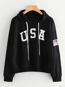 Hoodies para mulheres Adolescente casual tops capuz Wear American National Flag EUA Letters com capuz