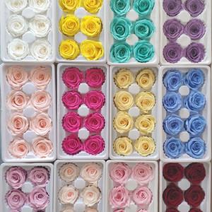 8pcs / CAIXA de alta qualidade caixa de rosa preservada Immortal Rose Flor DIY materiais atacado Flower Detalhes no Eterno flores 5cm T200909