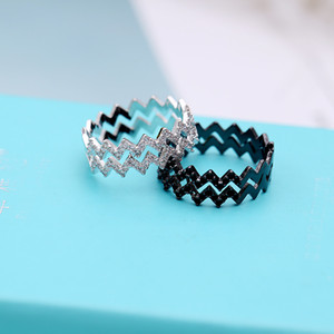 2020 Korean fashion ladies creative wave double tail ring simple personality black and white zircon ring brand high quality jewelry gift