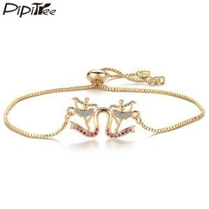 Pipitree Unique Cubic Zirconia Double Dancing Girls Charm Bracelet Adjustable Chain Friendship Bracelets for Women Girls Jewelry