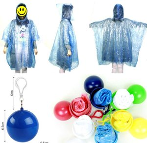 One-time Raincoat Spherical Ball Keychain Water proof Hood Poncho Emergency Rainwear Angling Tour Disposable Rainwear Unisex Raincoat LSK66