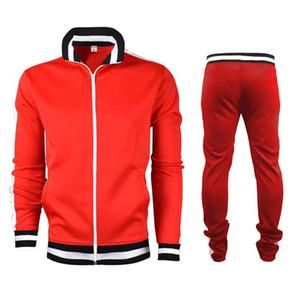 2pcs Hommes Tracksiut Set Sportwear Casual Couleur Bloc de remise en forme Tenues manches longues col montant Zipper Top + Pantalon cordonnet