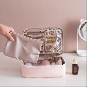 Travel Cosmetic Bag Beautician Make Up Bag Quick Makeup Bag Purse Toiletry Organizer Pink Makeup Pouch Waterproof Handbag
