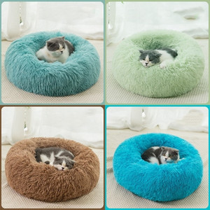 HOT Cat's nest dog house Plush winter solid color warm and comfortable pet mat pet supplies thick round pet mat T500255