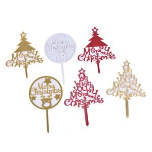 1pc creativo Merry Christmas Cake Topper Bandiera acrilico Cake carta Inserimento della decorazione del partito di Natale plug-in feste