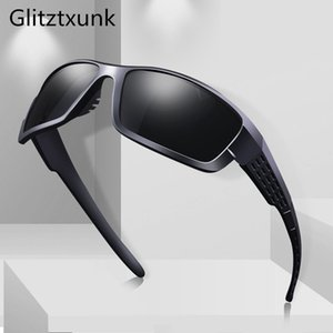 Glitztxunk 2020, polarized men's Vintage square sunglasses, UV400 driving glasses, oculary sunglasses