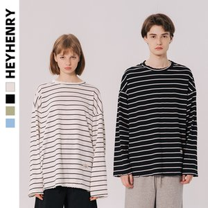 HeyHenry Hipster Korean Style Loose Striped Couples Long-Sleeved T-shirt Men and Women Play Low Shirt Cotton Hong Kong Style Ins Fashion