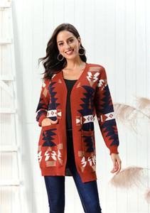 Com os bolsos inverno longo das mulheres Malhas impressos de Natal dos retalhos cor Cardigan Senhoras camisolas casual solta Female Tees