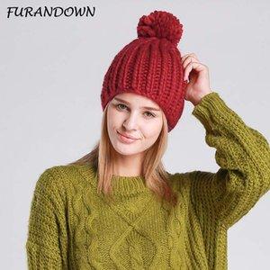 FURANDOWN 2020 nuevo de las mujeres de Invierno Gorros Pompón gorra de moda casual hicieron punto los sombreros calientes