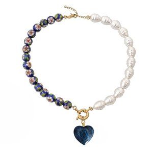 blue Cloisonne beads gothic collares colar gift natural stone heart pendant choker jewelry necklace women Y200918